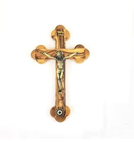 """Shomali Pewter Plated Bronze Corpus   Oriental Crucifix with Relic Made of Olive Wood 5.5"""""""