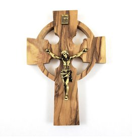 "Shomali Pewter Plated Bronze Corpus Celtic Crucifix Made of Olive Wood 5"""