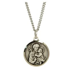 """Shomali St. Joseph Medal with 18"""" Chain and Velvet Box Silver Plated Made in France"""