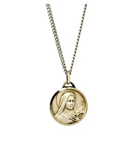 """Shomali St. Therese Medal with 18"""" Chain and Velvet Box Silver Plated Made in France"""