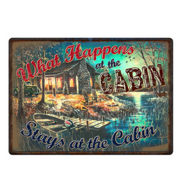 """Rivers Edge Products Tin Sign 12""""x17"""" - What Happens at the Cabin"""