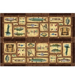 Rivers Edge Products Door Mat Woven 52in x 37in - Fishing