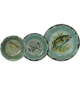 Rivers Edge Products Dinnerware Set 12-Pc Melamine - Fish