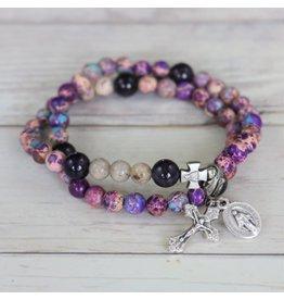 Chews Life Penance | Purple Stretch & Wrap Rosary Bracelet | Medium
