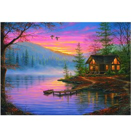 Rivers Edge Products Jigsaw Puzzle in Tin Box, 1000 Pieces, 28 by 20 Inch, Puzzles for Adults and Kids - Cabin Scene