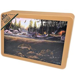 Rivers Edge Products Jigsaw Puzzle in Tin 1000 Pieces, 28 by 20 Inch, Puzzles for Adults and Kids - Fishing The Falls
