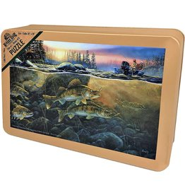 Rivers Edge Products Jigsaw Puzzle in Tin 1000 Pieces, 28 by 20 Inch, Puzzles for Adults and Kids - Walleye on The Rocks