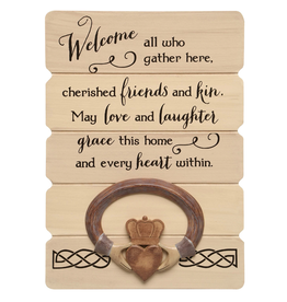 Abbey + CA Gift Claddagh Irish Blessing Plank Wall Plaque
