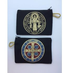 Oremus Mercy Small Rosary Pouch -St. Benedict Medal (3″ x 4″)