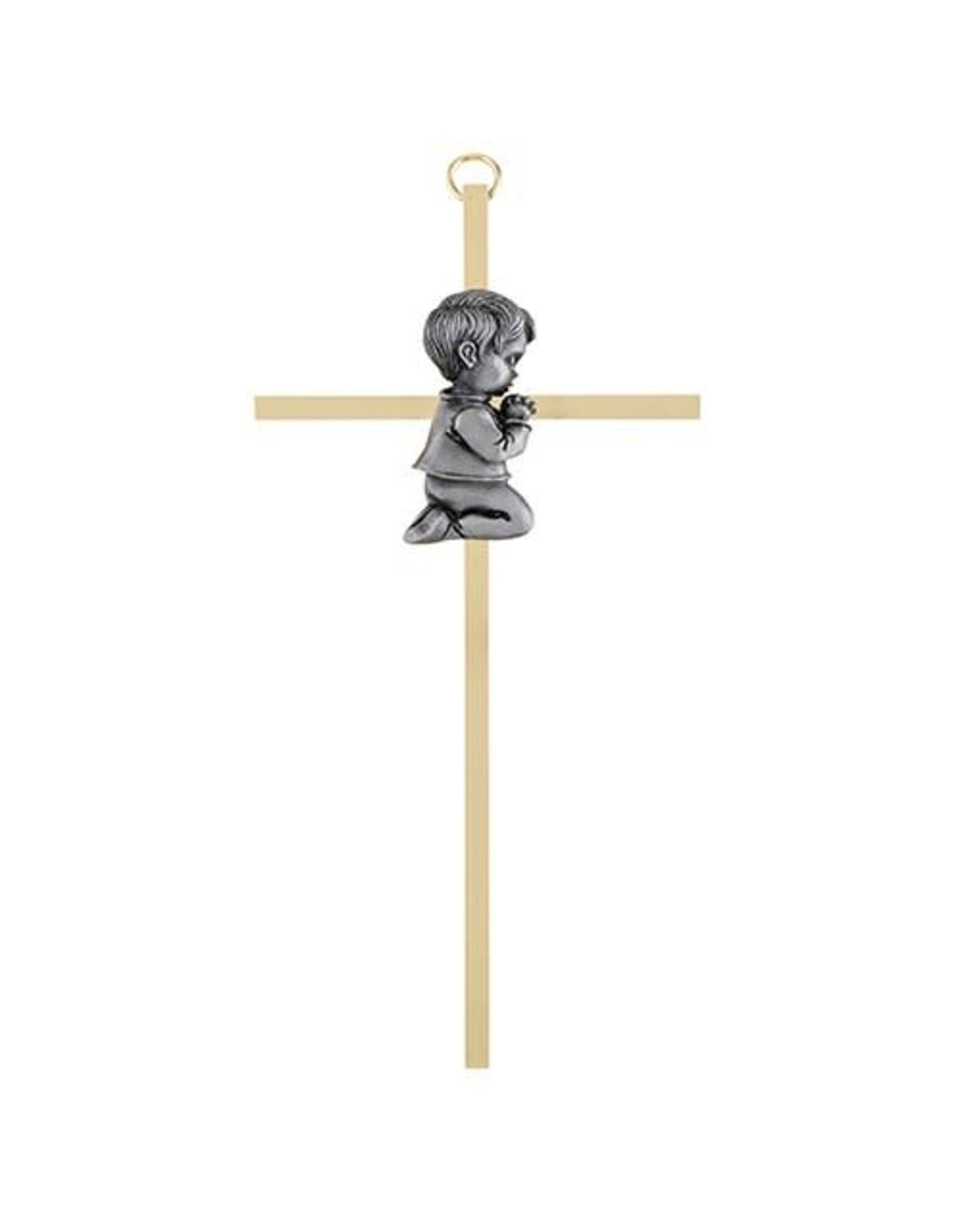 Christian Brands Brass Cross with Emblem - Baby Boy