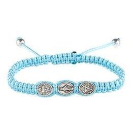 CBC-Berkander Miraculous Medal Macramé Bracelet - L-Blue