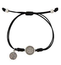 CBC-Berkander St. Benedict Bracelet with Dangle - silver medal, black cord