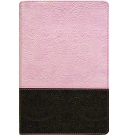 NLT Personal Size  Bible - Large Print - Pink/Brown LeatherLike