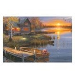 Rivers Edge Products LED Art 24in x 12in - Lake Cabin