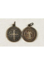 """St. Benedict Medal, 3/4"""" Round Medal, Brass Tone- Made in Italy"""
