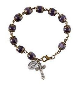Christian Brands Rosary Bracelet Miraculous - Purple - Italy