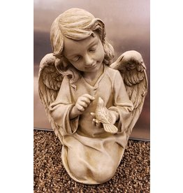 Garden Angel Statue with Bird