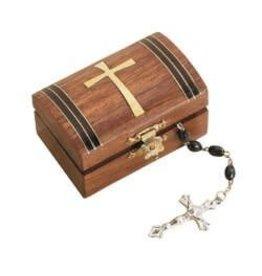Tapered Cross Wood Rosary Box