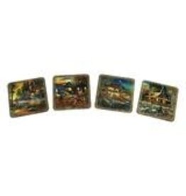 Rivers Edge Products Metal Coasters - Cabin  - 4  piece set