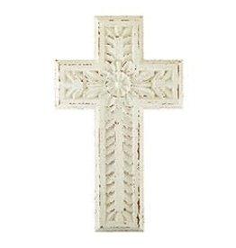 "Spiritual Harvest White Carved Wood Cross - 17"""