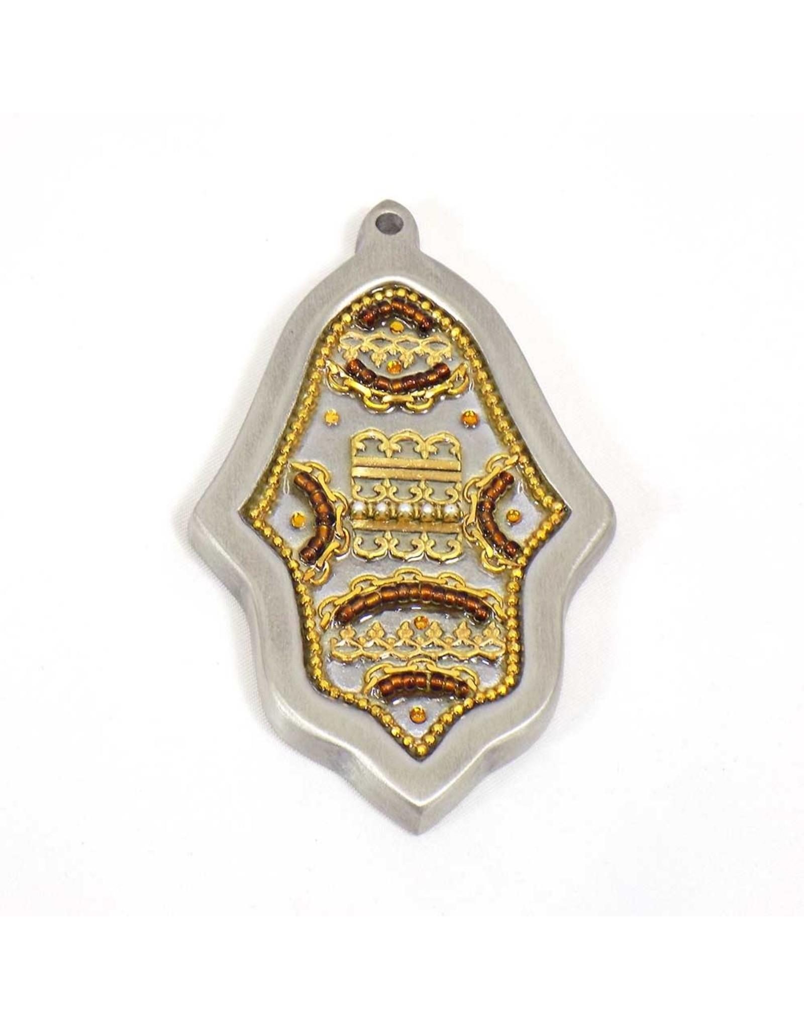 Bronze  Gold Brocade Hamsa Plaque