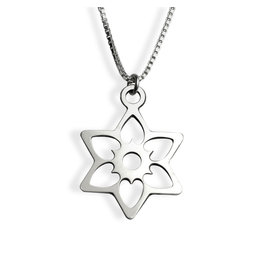 Sterling Silver Flowing Hearts Jewish Star Necklace