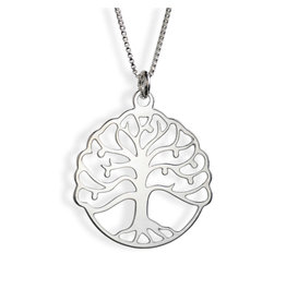 Sterling Silver Circular Tree of Life Necklace
