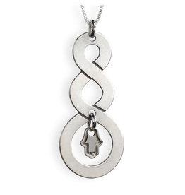Sterling Silver Triple Curl Hamsa Charm Necklace