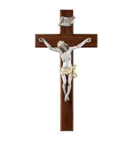 """CBC - Jeweled Cross Walnut Two Tone - 12"""" Crucifix"""