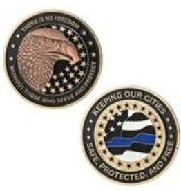 Thin Blue Line USA Challenge Coin - Keeping our cities safe, protected, and free