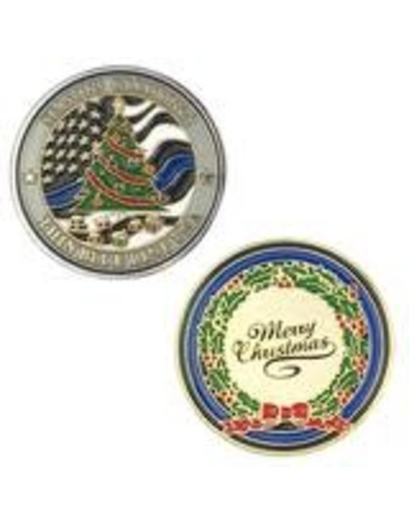 Thin Blue Line USA Challenge Coin - Limited Edition Christmas Season's Greeting