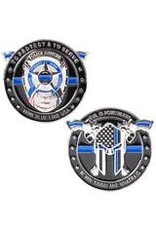 Thin Blue Line USA Challenge Coin - Evil is Powerless if the Good are Unafraid