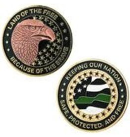 Thin Blue Line USA Challenge Coin - Thin Green - Keeping Our Nation Safe, Protected, and Free