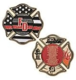 Thin Blue Line USA Challenge Coin - Thin Red - Firefighter's Prayer