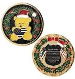 Thin Blue Line USA Challenge Coin - Limited Edition Christmas Teddy Bear