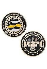 Thin Blue Line USA Challenge Coin - Dispatcher Thin Gold Line - Golden Glue