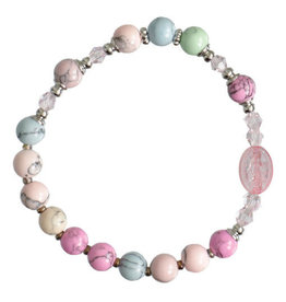 Rosary Bracelet Children's Gemstone rainbow 6mm