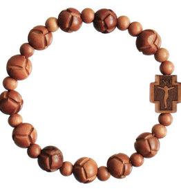 Rosary Bracelet  Light Jujube Wood  Carved 10mm