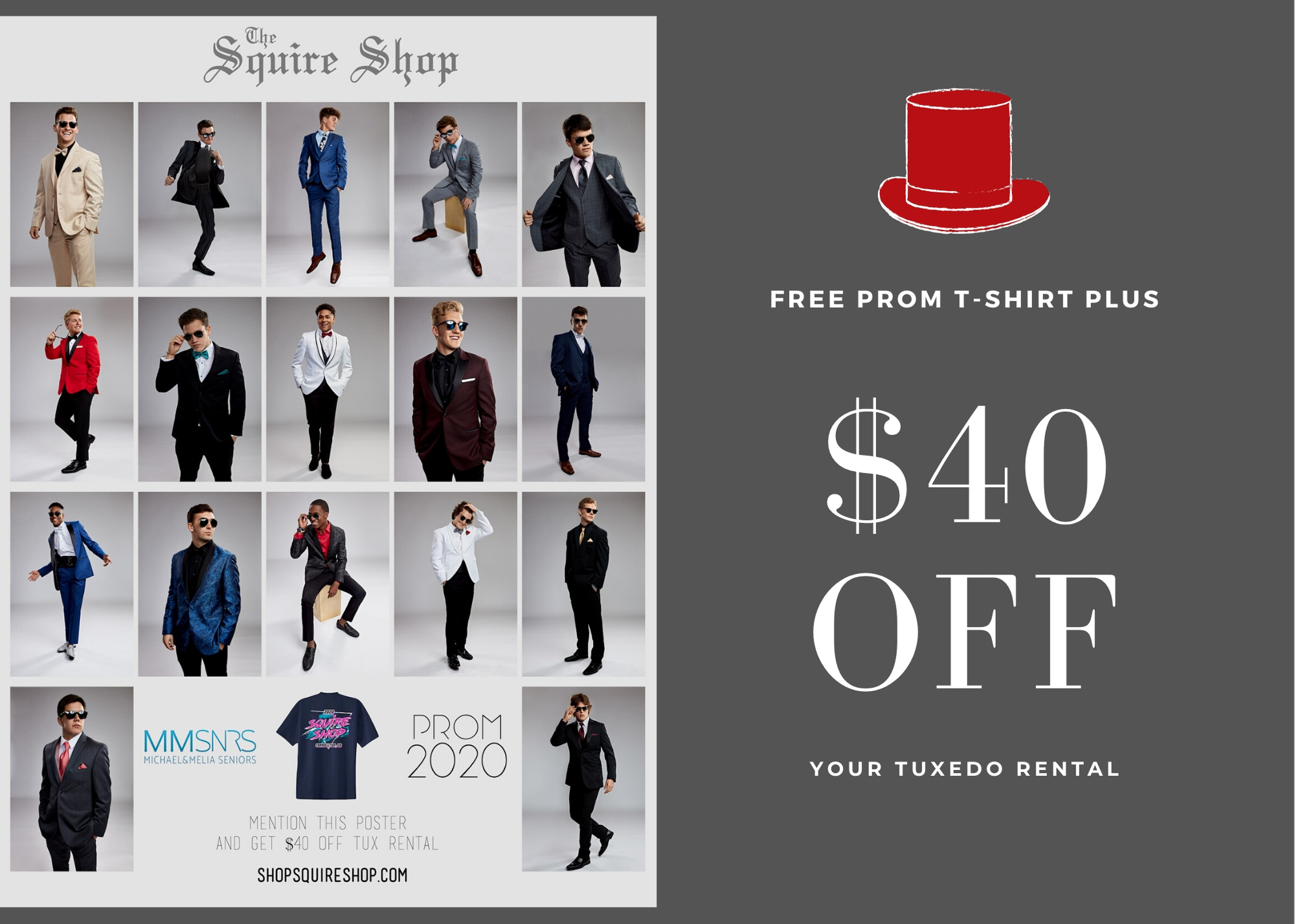 $40 off and Free Prom T-Shirt with Tuxedo Rental