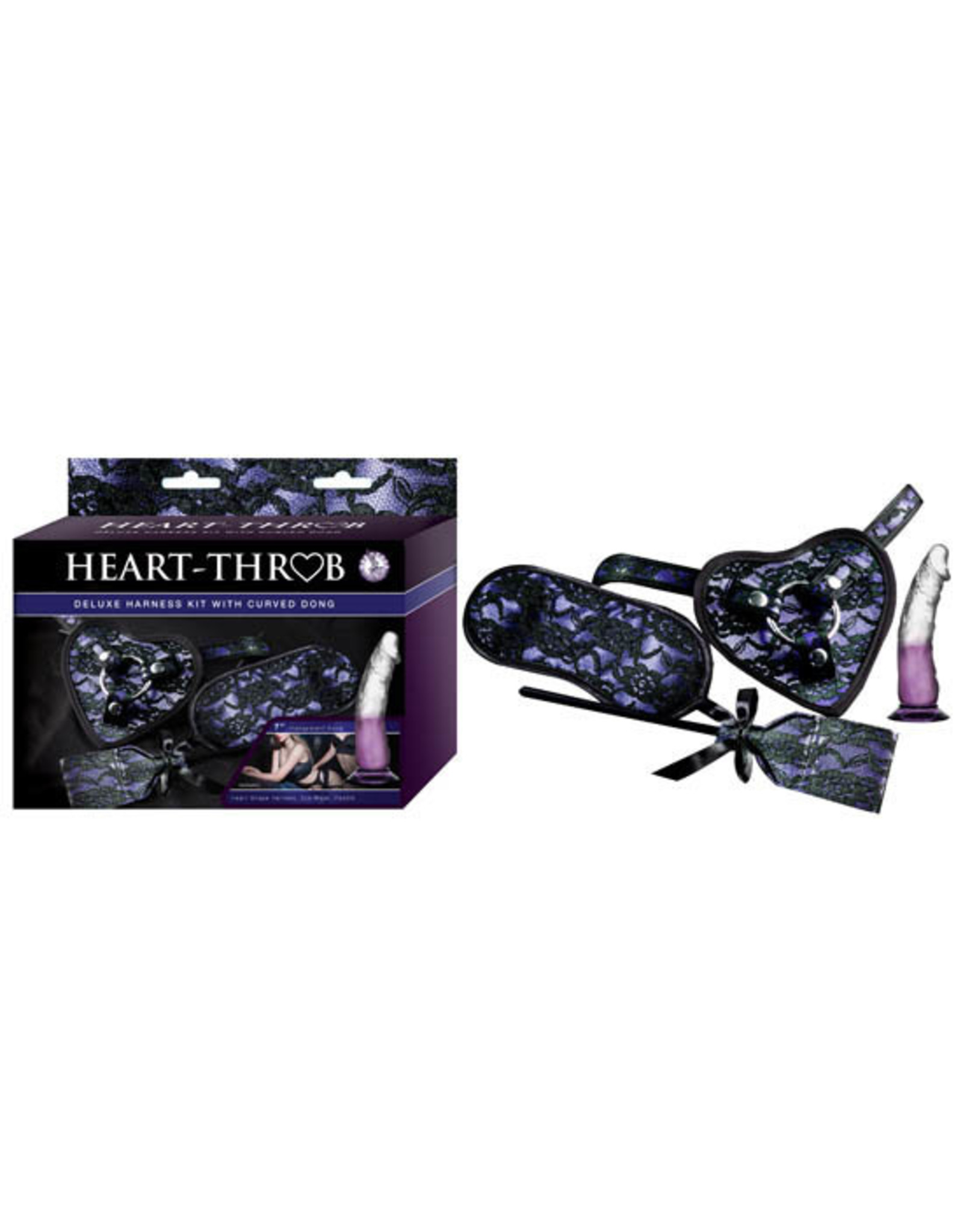 Nasstoys Heart Throb Deluxe Harness Kit with Curved Dong (Mask & Paddle) Purple