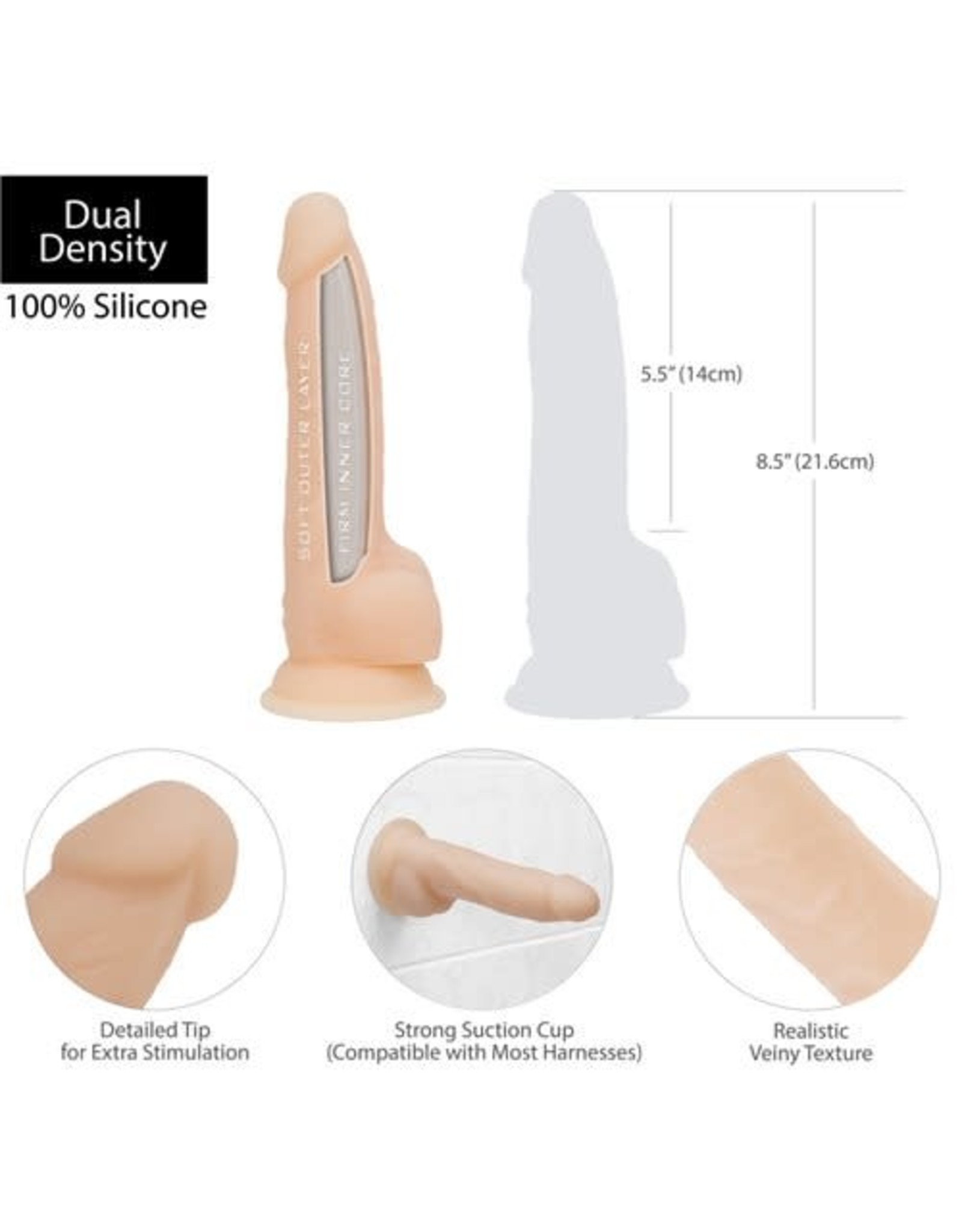 """BMS Factory Naked Addiction 8"""" Silicone Dong"""