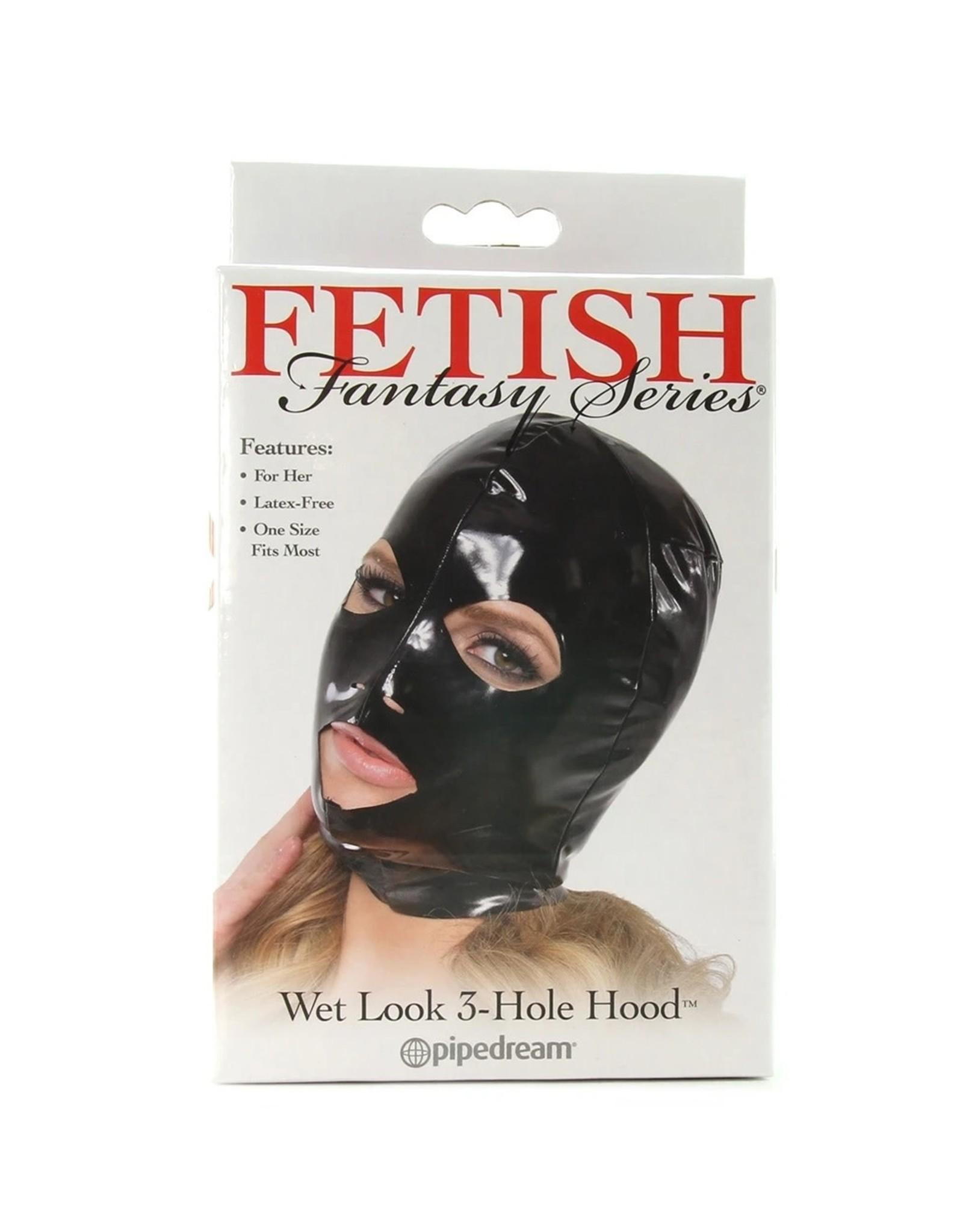 Fetish Fantasy Series FFS Wet Look 3- Hole Hood (Mask) Small