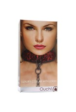 Ouch! Luxury Collar with Leash in Burgundy