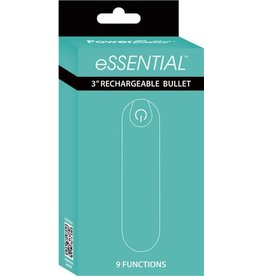 """Power Bullet Essential 3"""" Rechargeable Bullet w/9 Functions (teal)"""