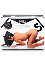 Tailz Tailz Black Cat Tail Anal Plug and Mask Set