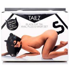 Tailz Black Cat Tail Anal Plug and Mask Set