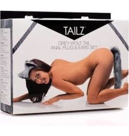 Tailz Tailz Grey Wolf Tail Anal Plug& Ear Set