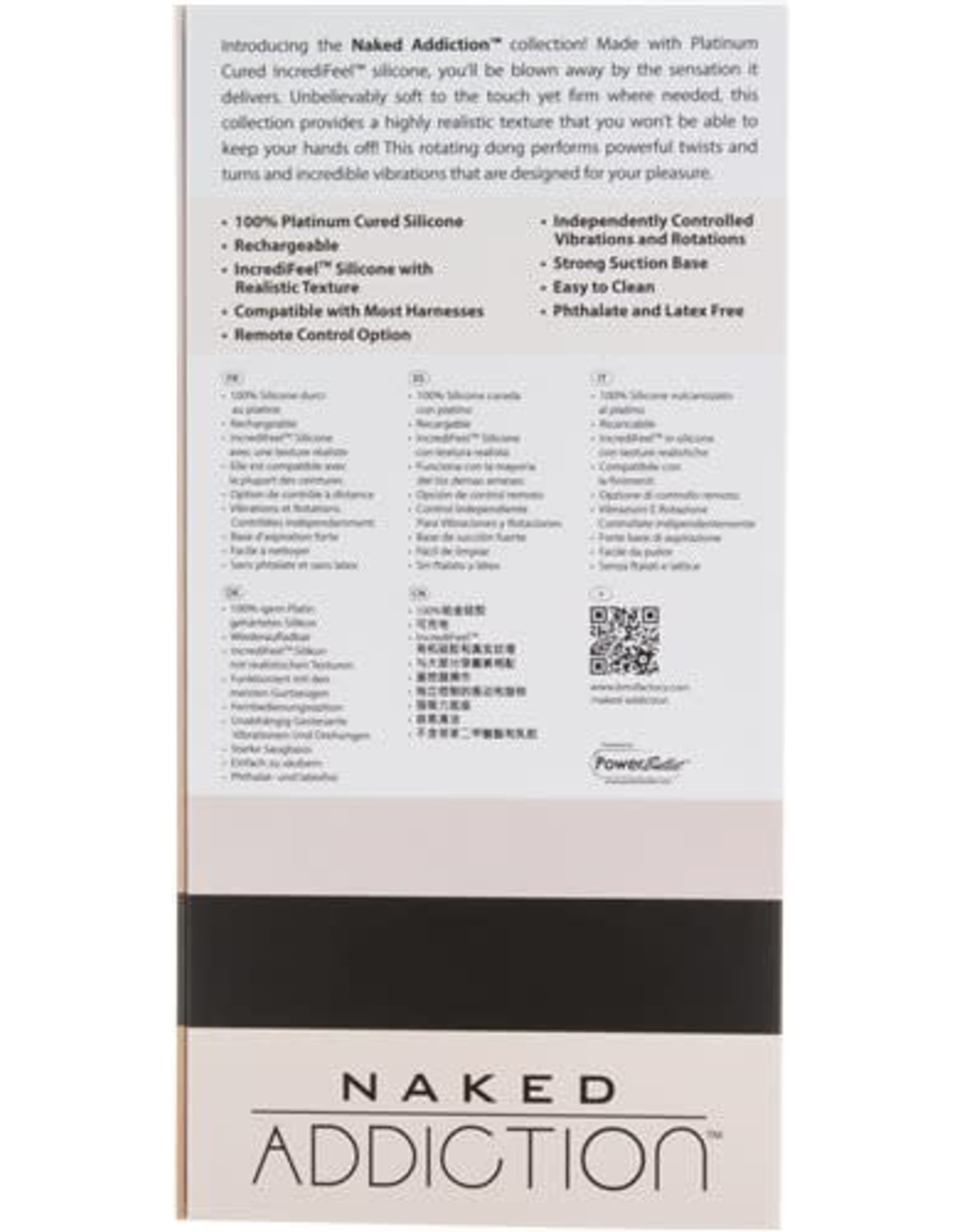 """Naked Addiction 7"""" Rotating and Vibrating Dong with Remote"""