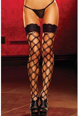 Black Diamond Net Thigh Highs With Lace Tops OS