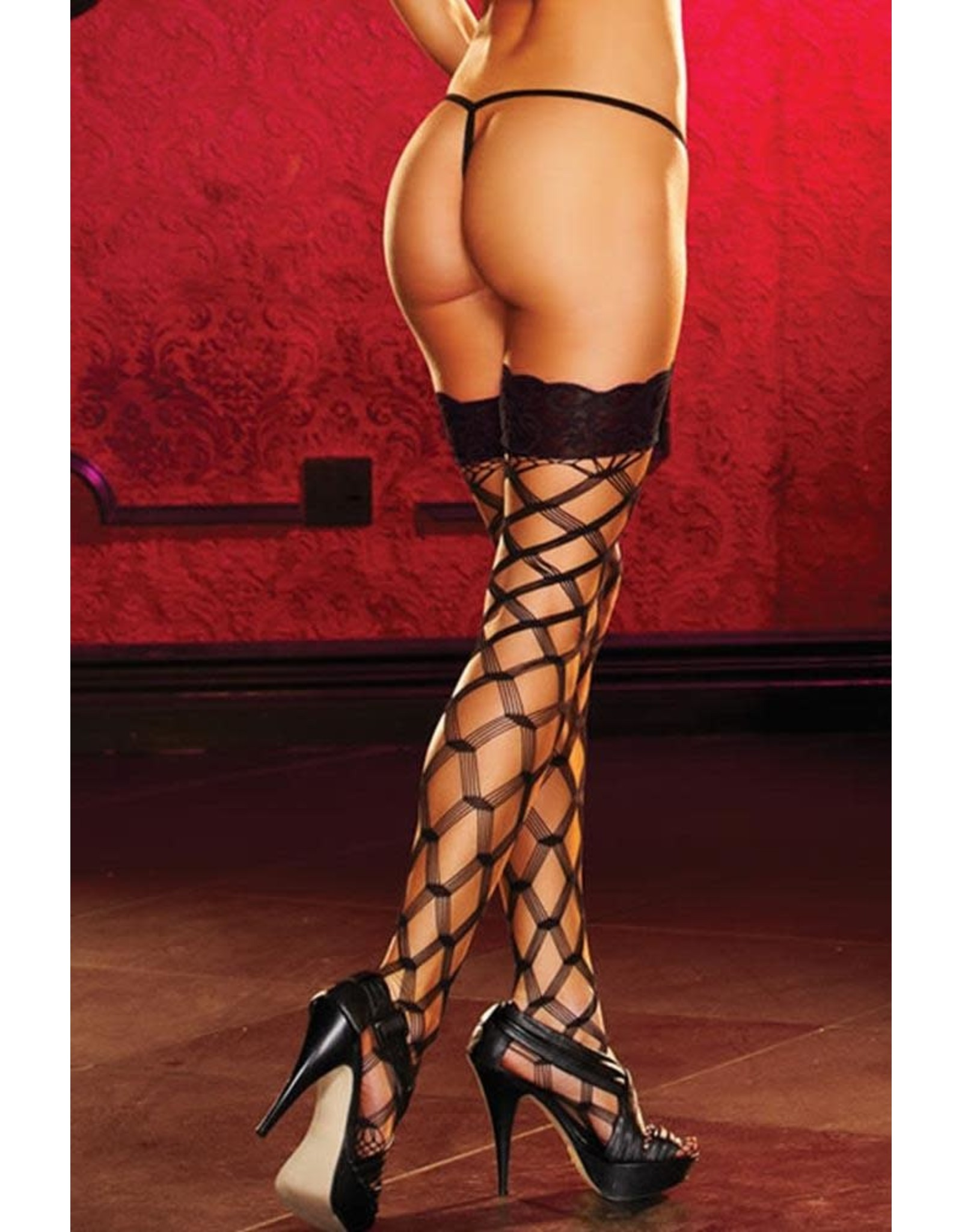 LapDance Black Diamond Net Thigh Highs With Lace Tops OS